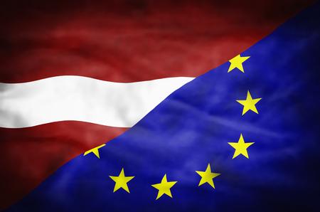 mixed wallpaper: Latvia and European Union mixed flag. Wavy flag of Latvia and European Union fills the frame. Stock Photo