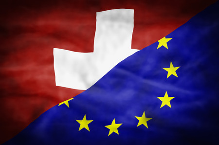 Switzerland and European Union mixed flag. Wavy flag of Switzerland and European Union fills the frame.