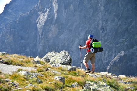 tatra: Hiker in mountains. A tourist in High Tatra Mountains, Slovakia. Stock Photo