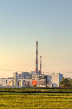 paesaggio industriale: Industrial landscape. Power plant, factory and chimneys. Archivio Fotografico