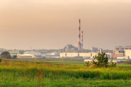 outdoor electricity: Industrial landscape. Power plant, factory and chimneys. Stock Photo