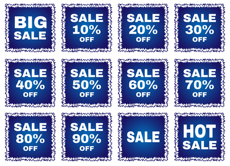 selloff: Big sale tags with transparent inscriptions. Twelve different symbols is a big sell-off.