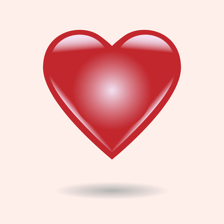 effect: Red heart with glass effect.