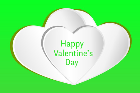 happy valentine s day: Valentines card. Three white hearts with Happy Valentine s Day text on a green background.