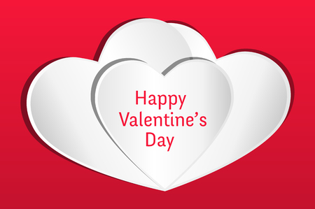 valentine s card: Valentines card. Three white hearts with Happy Valentine s Day text on a red background.