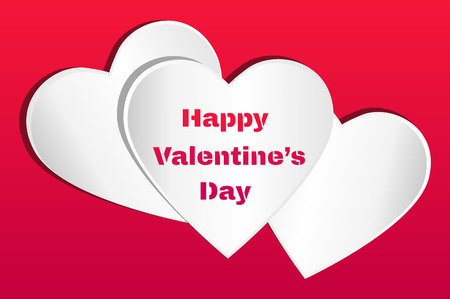 valentine s day: Valentines card. Three white hearts with Happy Valentine s Day text on a red background.