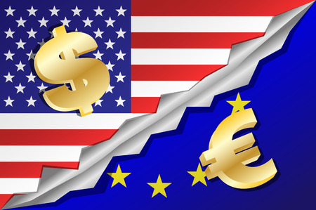 mixed: United States of America and European Union flags mixed with dollar and euro symbols. Vector illustration