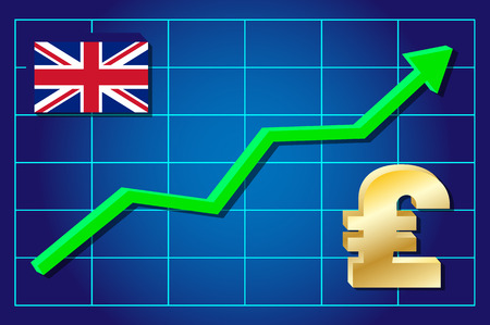 exchange rate: Pound - exchange rate growing on the chart. Vector illustration .