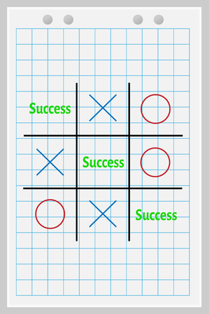 conquering: Concept of success. Tic Tac Toe game with the word success.