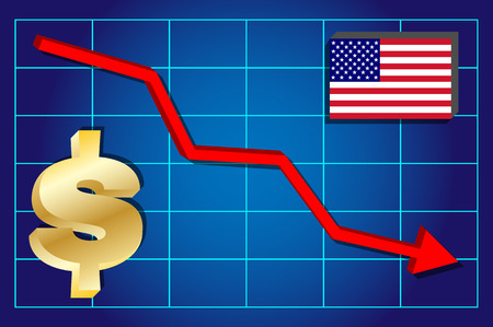 exchange rate: Dollar - falling dollar exchange rate on the chart. Vector illustration . Illustration