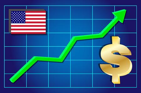 exchange rate: Dollar - exchange rate growing on the chart. Vector illustration .