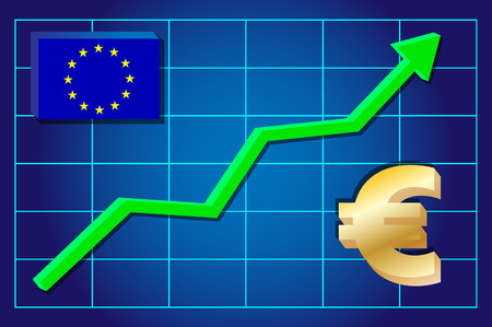 exchange rate: Euro currency - exchange rate growing on the chart. Vector illustration . Illustration