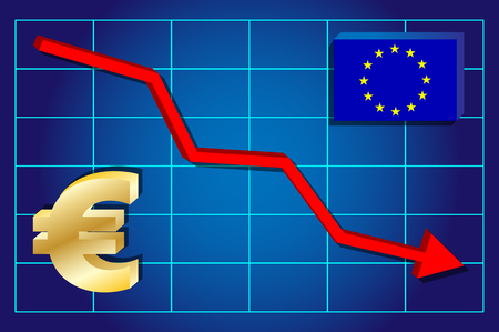 exchange rate: Euro currency - falling exchange rate on the chart. Vector illustration . Illustration