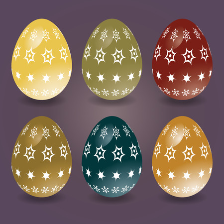 light reflection: Colorful Easter eggs with patterns. Six eggs with the effect of light reflection.