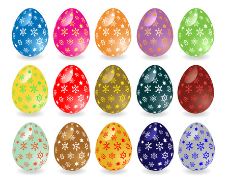 light reflection: Colorful Easter eggs with patterns. Fifteen different eggs with the effect of light reflection.