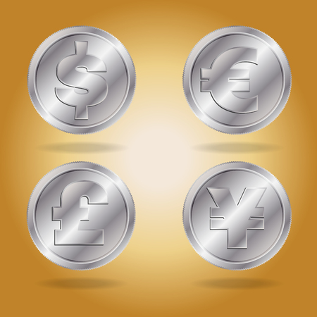 interchange: Symbols of various currencies. Dollar, Euro, Pound and Yen or Yuan on silver coins. Illustration