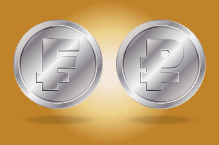 franc: Symbols of Franc and Ruble currencies. Franc and Ruble on silver coins. Illustration