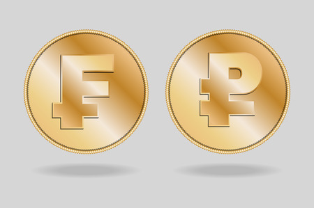 interchange: Symbols of Franc and Ruble currencies. It Franc and Ruble gold coins. Illustration