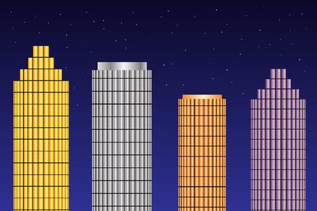 Wolkenkratzer in der Nacht. Bunte Gebäude und Sterne in den Nachthimmel. Vektorgrafik