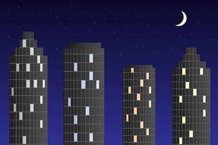 moon  metropolis: Skyscrapers at night. High buildings in the night sky.