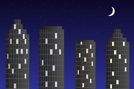 Skyscrapers at night. High buildings in the night sky.