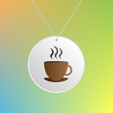 sign holder: Cup of coffee or tea symbol. Coffee or tea sign hanging on a white circle label. Illustration