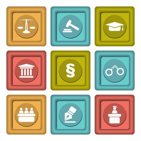 pledge: Set of icons related to the court, crime and the law. Nine different colored icons in vector illustration.