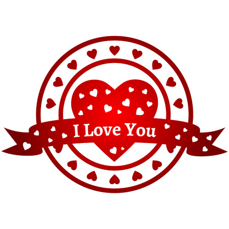 i love you symbol: Symbol for Valentines Day and other holidays. Red circle sign with hearts and lettering I Love You. The illustration is one element with transparent fills and text. Illustration