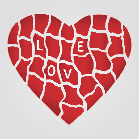 torn heart: Symbol of Love. Red ruffled heart with lettering Love.