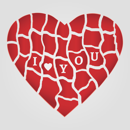 i love you symbol: Symbol of Love. Red ruffled heart with lettering I Love You.