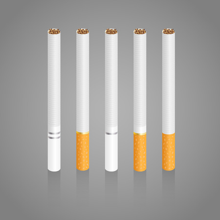 toxic product: Cigarettes. Five different realistic cigarettes with slight shadow in vector illustration.