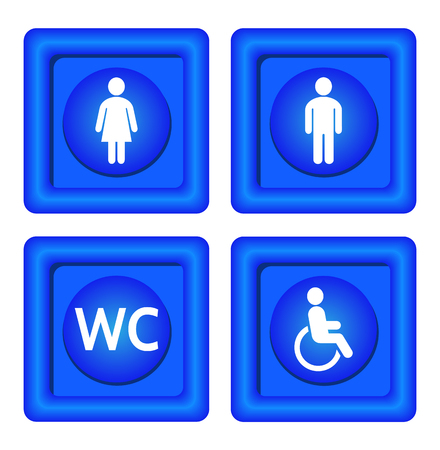 women and men: Blue toilet signs. Blue symbols toilets for women, men, invalid and wc.