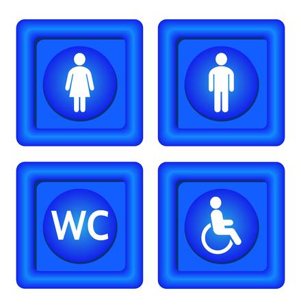 Blue wc borden. Blauwe symbolen toiletten voor vrouwen, mannen, ongeldig en wc.