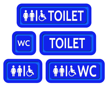 man and women wc sign: The blue signs set to the toilet. Various symbols with silhouettes of the toilet. Illustration