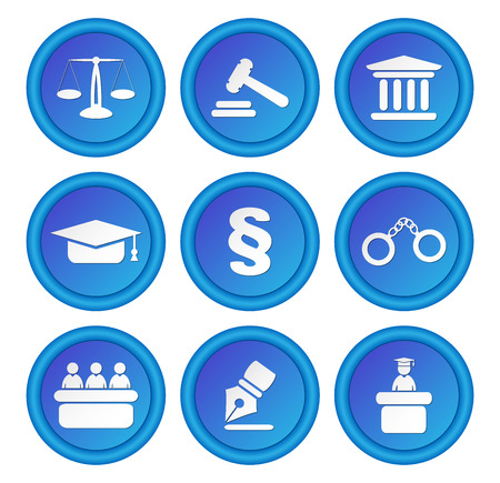 set symbols: Set of icons related to the court, crime and the law. Nine different blue round icons.