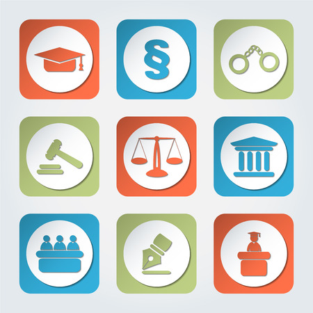 oath: Set of icons related to the court, crime and the law. Nine different colorful icons in vector illustration. Illustration