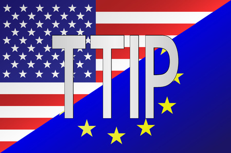 trade union: TTIP - Transatlantic Trade and Investment Partnership. United States of America and European Union mixed flag with TTIP text.