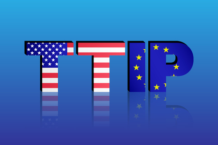 trade union: TTIP - Transatlantic Trade and Investment Partnership. United States of America and European Union flags in TTIP text with shadow.