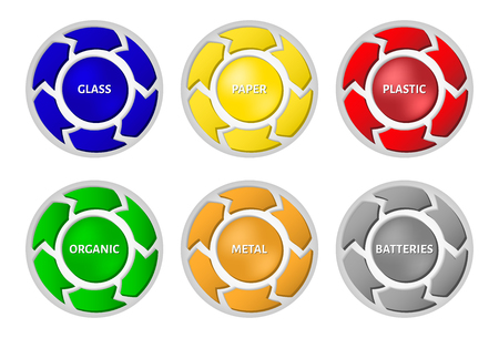 segregate: Waste segregation management concept. Different colored recycle waste label on bins. Illustration