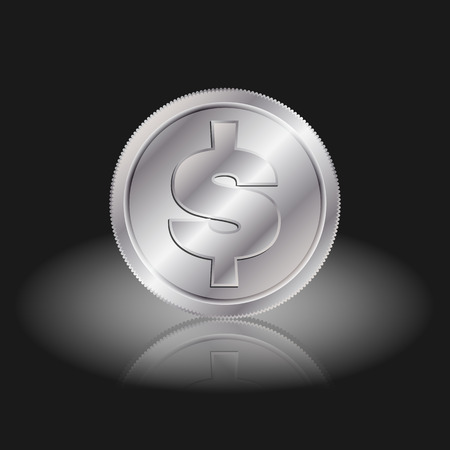 interchange: Symbol currency dollar. Dollar sign on silver coins with shadow on a black background. Illustration