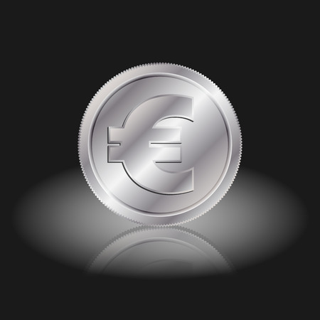 interchange: Symbol currency euro. Euro sign on silver coins with shadow on a black background.