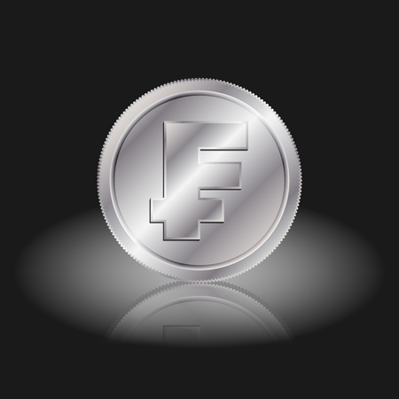 franc: Symbol currency franc. Franc sign on silver coins with shadow on a black background. Illustration