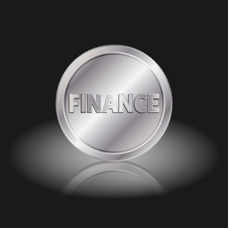 interchange: Symbol finance in coin. Finance text on silver coin with shadow on a black background.