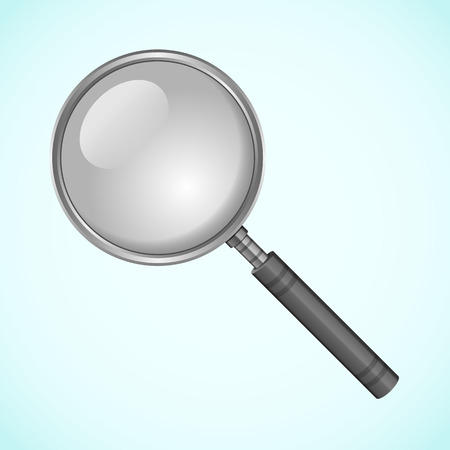 Magnifying glass. Magnifier on a bright blue background in vector illustration.