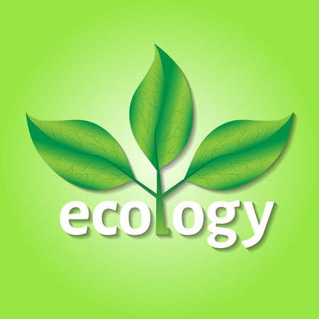 degradation: Ecological or environmental concept. Green leaves on a tree with ecology white text on a green background.