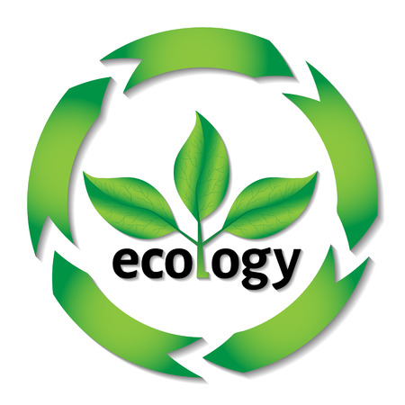 degradation: Ecological or environmental concept. Green leaves on a tree with ecology black text with circle arrows. Illustration
