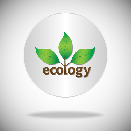 circle of life: Ecological or environmental icon. Green leaves on a tree with ecology brown text on a white circle background.