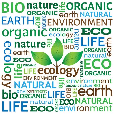 Ökologische oder Umwelt-Konzept oder Hintergrund. Verschiedene Wörter im Zusammenhang mit Ökologie mit Baum mit Blättern in der Mitte. Vektorgrafik