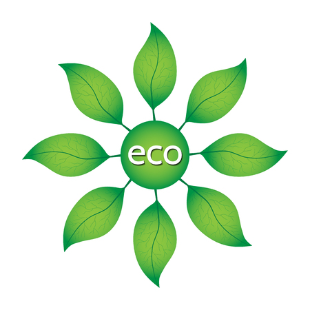 degradation: Ecological or environmental concept. Green leaves in a circle with ECO text on a white background. Illustration