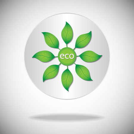 degradation: Ecological or environmental icon. Green leaves with eco text on a white circle background.